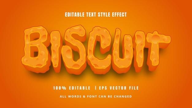Biscuit effet de style de texte 3d ludique style de texte d'illustrateur modifiable