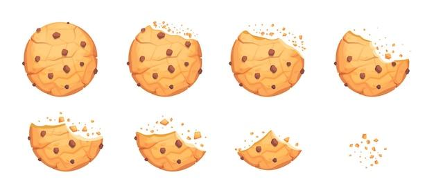 Biscuit entier, cassé et mordu avec des chips de chocolat. biscuit rond fait maison, délicieuses miettes de casse-croûte de pâtisserie, illustration vectorielle de boulangerie morsure dessert isolé sur fond blanc