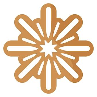 Biscuit festif de pain d'épice de flocon de neige de noël recouvert de glaçage blanc.