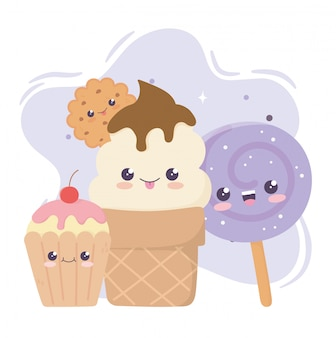 Biscuit mignon de crème glacée de petit gâteau et bonbons dans le personnage de dessin animé de bâton kawaii