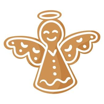 Biscuit de pain d'épice ange festif de noël recouvert de glaçage blanc.