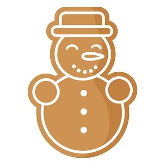 Biscuit de pain d'épice de bonhomme de neige festif de noël recouvert de glaçage blanc.