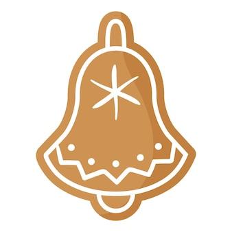 Biscuit de pain d'épice de cloche de fête de noël recouvert de glaçage blanc.