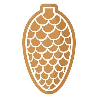 Biscuit de pain d'épice de cône festif de noël recouvert de glaçage blanc. joyeux noël et bonne année concept.