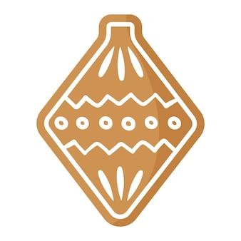 Biscuit de pain d'épice de décoration d'arbre de noël de fête de noël recouvert de glaçage blanc.