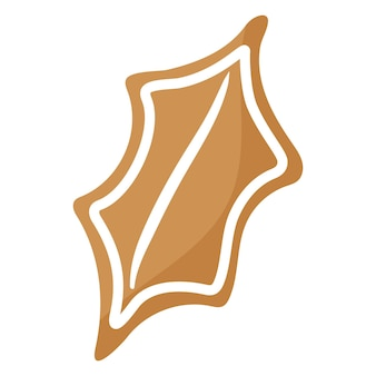 Biscuit de pain d'épice de feuille de houx de fête de noël recouvert de glaçage blanc.