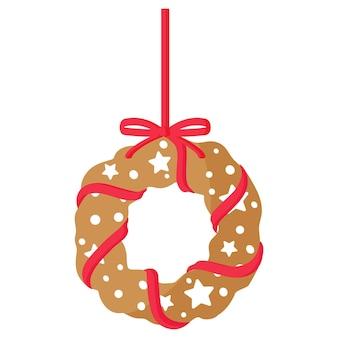 Biscuit de pain d'épice de guirlande de noël festif de noël recouvert d'un glaçage blanc avec un ruban rouge. joyeux noël et bonne année concept.