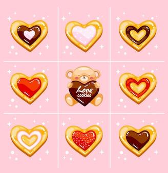 Biscuits d'amour brillants avec ours en peluche