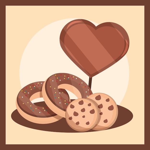 Biscuits au chocolat et beignets avec des bonbons