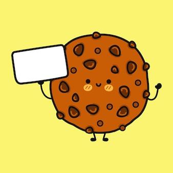 Biscuits au chocolat drôles mignons avec affiche