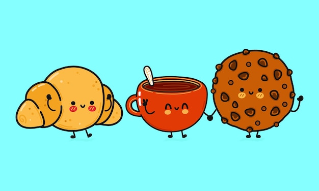 Biscuits au chocolat heureux mignons drôles ensemble de paquets de caractères de lait et de croissants
