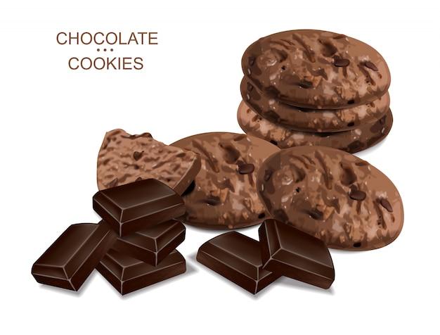 Biscuits au chocolat isolés réalistes. desserts détaillés en 3d