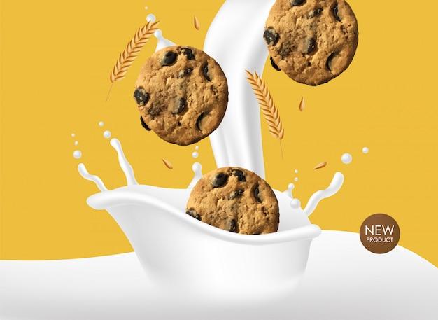 Biscuits au chocolat réalistes, biscuits au blé avec lait éclaboussé, dessert délicieux, boulangerie de produits sucrés