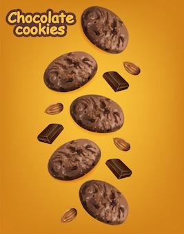 Biscuits au chocolat réalistes. délicieux dessert tombant des cookies. paquet de produit détaillé 3d
