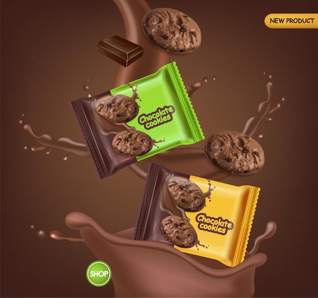Biscuits au chocolat réalistes maquette. délicieux biscuits tombant avec des éclaboussures de chocolat. paquet de produit détaillé 3d. affiches de conception d'étiquettes