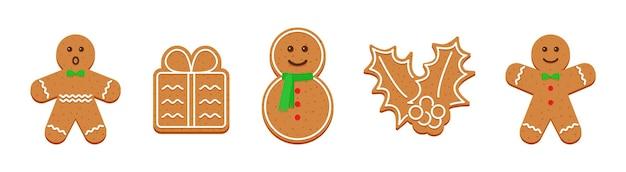 Biscuits au gingembre. bonbons mignons de noël. illustration vectorielle.