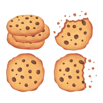 Biscuits aux pépites de chocolat vector illustration set