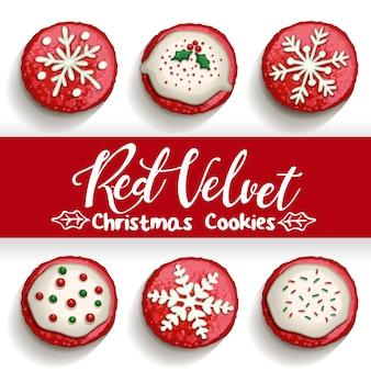 Biscuits aux pépites de chocolat de velours rouge sur blanc avec illustration de calligraphie