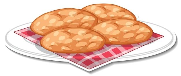 Biscuits dans l'autocollant de plaque sur le blanc