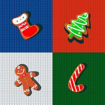 Biscuits de pain d'épices de Noël sur un tricot