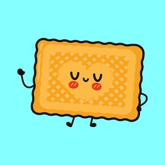 Biscuits drôles mignons agitant le personnage de la main