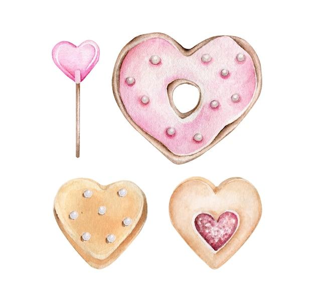 Biscuits en forme de coeur romantique isolés sur blanc