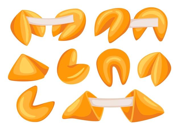 Biscuits de fortune chinois. ensemble de nourriture. pâtisseries sucrées. biscuit de fortune de style cartoon dessiné avec une note vierge à l'intérieur