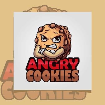 Biscuits d'inspiration de logo avec l'ekpresion fâché de chips de chocolste