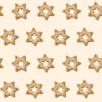 Biscuits de noël en pain d'épice sans soudure étoile motif fond blanc