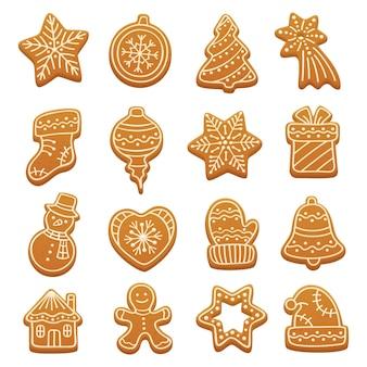 Biscuits de pain d'épice de dessin animé. éléments vectoriels de noël