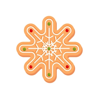 Biscuits de pain d'épice de flocon de neige de noël décoration de nouvel an