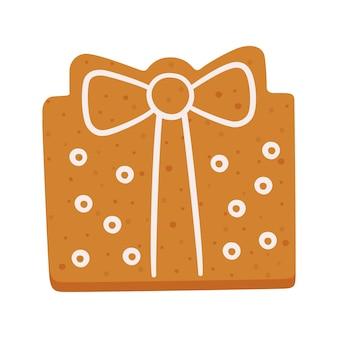 Biscuits de pain d'épice mignons en forme de boîte-cadeau biscuits de noël