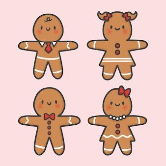 Biscuits de pain d'épice mignons vecteur de dessin animé dessinés à la main de noël