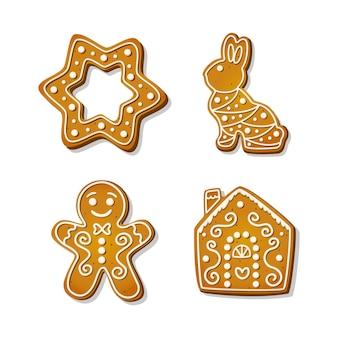 Biscuits de pain d'épice de noël. biscuits festifs en forme de maison et bonhomme en pain d'épice, étoile et lapin. illustration de vecteur de dessin animé.