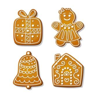 Biscuits de pain d'épice de noël. biscuits festifs en forme de maison et femme en pain d'épice, cloche et coffret cadeau. illustration de vecteur de dessin animé.