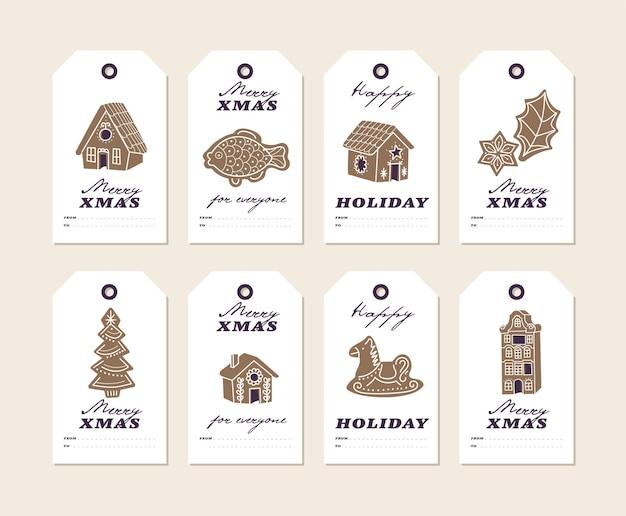 Biscuits De Pain D'épice De Noël De Conception Colorée De Vecteur Sur Les étiquettes Ou Les étiquettes De Noël De Fond Blanc Se... Vecteur Premium