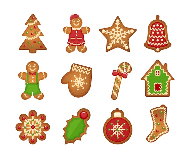 Biscuits de pain d'épice de noël sur fond blanc. sapin de noël et étoile, cloche et maison
