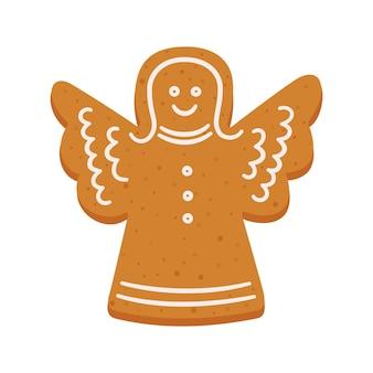 Biscuits de pain d'épice de noël en forme d'ange objets vectoriels isolés sur fond blanc