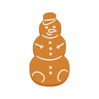 Biscuits de pain d'épice de noël en forme de bonhomme de neige objets vectoriels isolés sur fond blanc