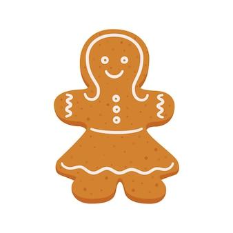 Biscuits de pain d'épice de noël sous la forme d'une fille femme de pain d'épice objets vectoriels isolés