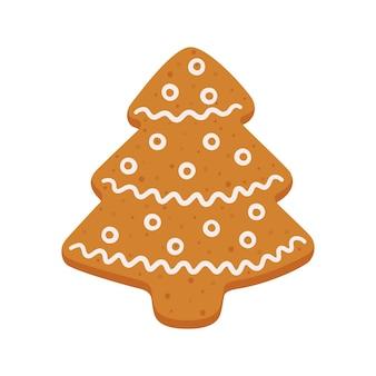 Biscuits de pain d'épice sous la forme d'un arbre de noël objets vectoriels isolés sur fond blanc