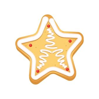 Biscuits de pain d'épice sous forme d'étoile de noël sur un fond blanc