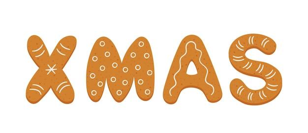 Biscuits de pain d'épice sous forme de lettres noël joyeux noël bannière biscuits de vacances de pain d'épice