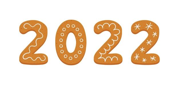 Biscuits de pain d'épice sous forme de numéro 2022 bannière de bonne année 2022 biscuits de pain d'épice