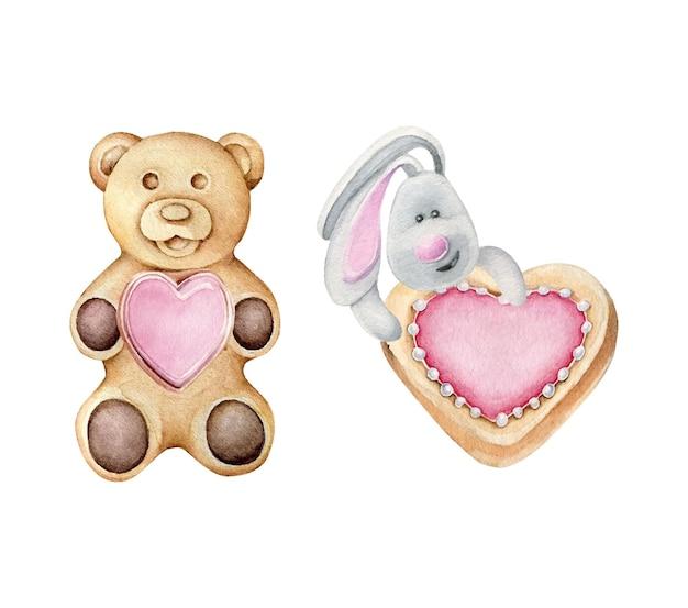 Biscuits romantiques de la saint-valentin isolés sur blanc