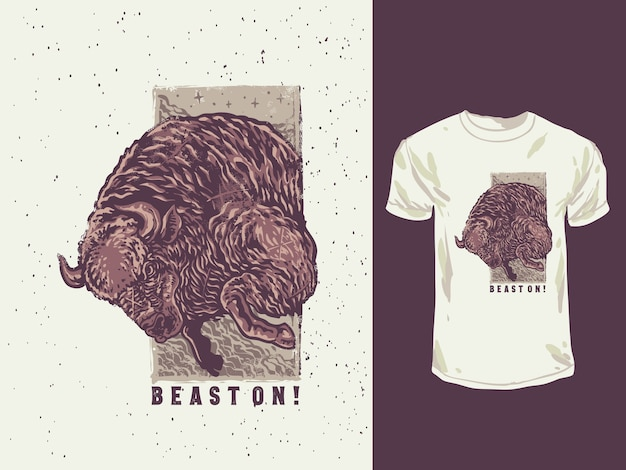 Le bison en colère avec une illustration dessinée à la main de couleurs vintage