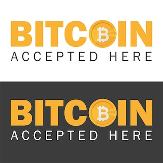 Bitcoin accepté bannière icône autocollant avec texte bitcoind accepté ici vector illustration eps-10 sur fond noir et blanc
