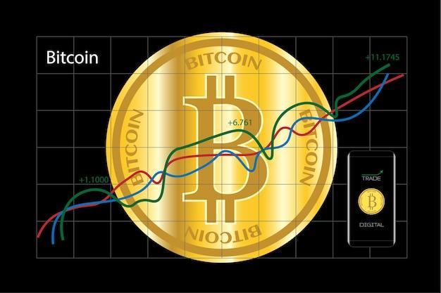 Bitcoin cryptomonnaie et téléphone intelligent avec graphique de l'entreprise.