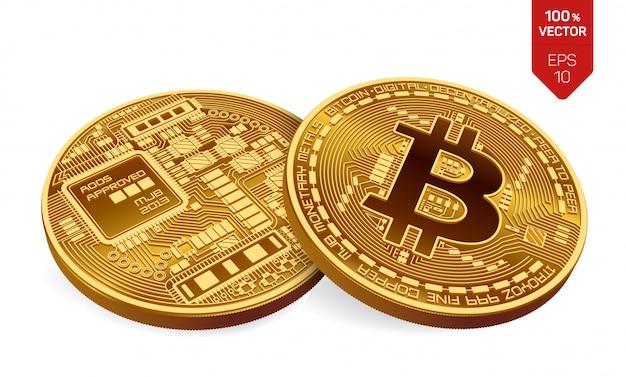 Bitcoin. deux pièces d'or avec bitcoin isolé. crypto-monnaie.