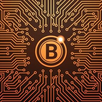 Bitcoin doré icône de la monnaie numérique web money concept circuit background